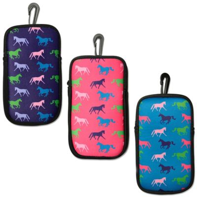 Tek Trek Neoprene Phone Case with Galloping Horse Images in Aqua