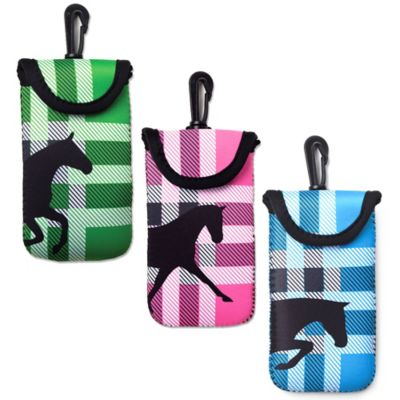 Tek Trek Neoprene Velcro® Phone Case with Black Horse Graphic in Green Plaid