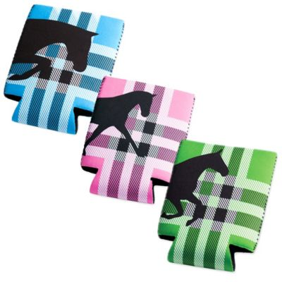 Tek Trek Neoprene Koozie with Black Horse Graphic in Pink Plaid