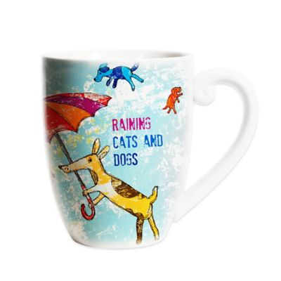 "CR Gibson ""Raining Cats and Dogs"" 20 oz. Porcelain Coffee Mug"