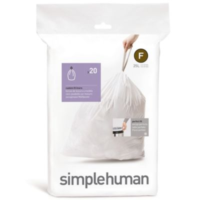 simplehuman® 20-Pack Code F Custom Fit 25-Liter Can Liners