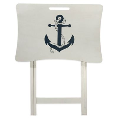Elements White Wash Anchor Tray Table