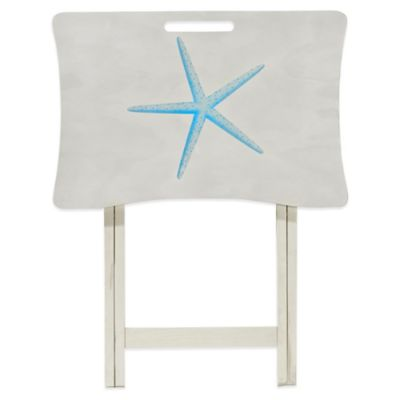 Elements White Wash Starfish Tray Table