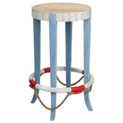 Coastal Large Life Preserver Wooden Stool in Blue/White