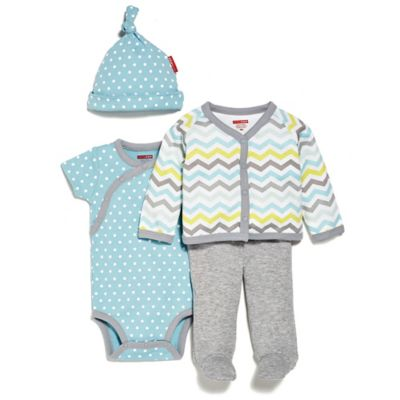 SKIP*HOP® Newborn 4-Piece Welcome Home Pant Set with Hat in Blue/Chevron