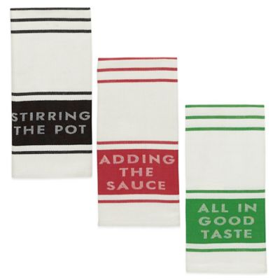 kate spade new york Diner Stripe Kitchen Towel in Red