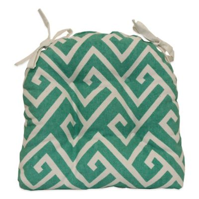 Dhurrie-Greek Key Waterfall Chair Pad in Aqua