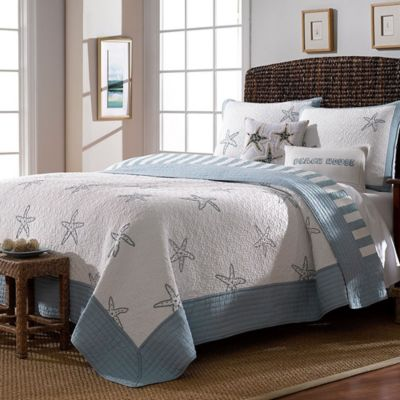 Beach View Reversible King Quilt in Sterling Blue
