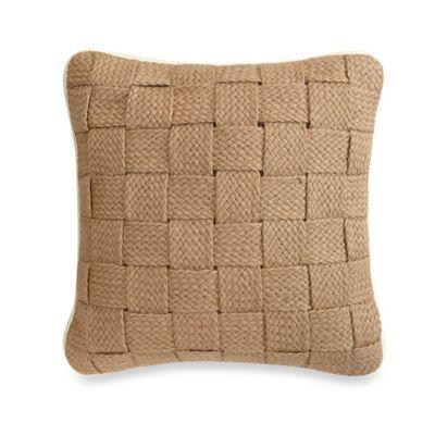 Panama Square Throw Pillow in Hemp