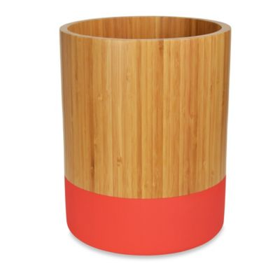DKNY Color Block Bamboo Wastebasket