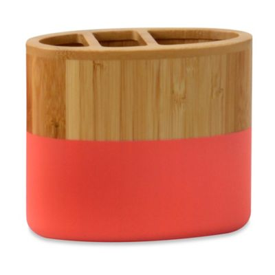 DKNY Color Block Bamboo Toothbrush Holder
