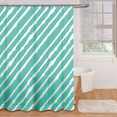 Tidal Shower Curtain in Aqua/White