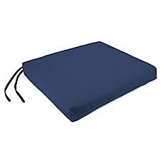 Sunbrella® French Edge Chair Cushions in Canvas Navy (Set of 2)