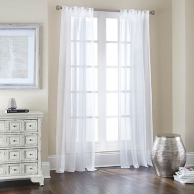 Nobility Sheer Rod Pocket/Back Tab 95-Inch Window Curtain Panel in White