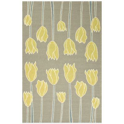 Jaipur Tulips 3-Foot 6-Inch x 5-Foot 6-Inch Area Rug in Grey/Yellow