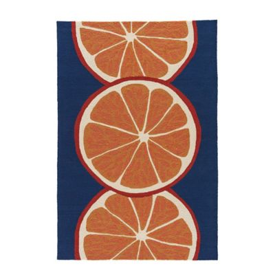 Jaipur Grant Orange Slice 5-Foot x 7-Foot 6-Inch Indoor/Outdoor Rug in Navy/Orange