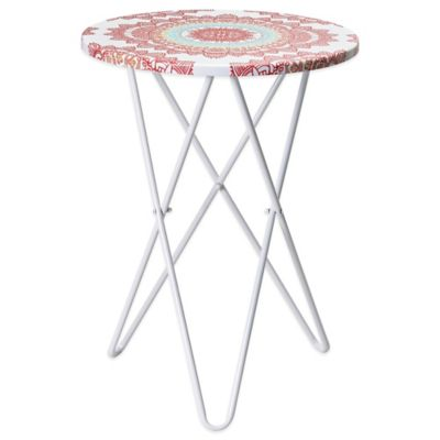 Anthology™ Round Side Table in White/Pink