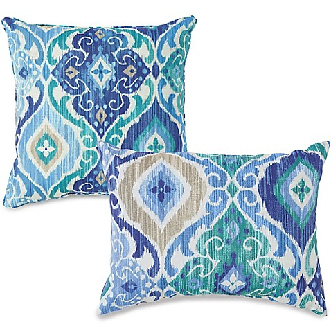 Outdoor Throw Pillows In Ikat Blue Bed Bath Amp Beyond