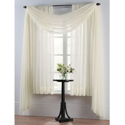 Smart Sheer™ Insulating Voile Scarf Valance in White