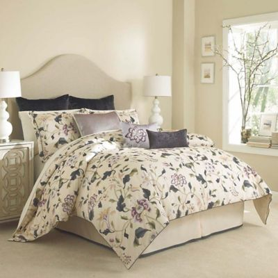 Charisma Eve King Duvet Cover Set in Ink Blue/Cream