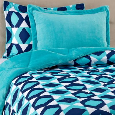 Suri Printed 3-Piece Full/Queen Reversible Plush Down ALternative Comforter Set in Turquoise