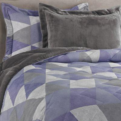 Jun Printed 2-Piece Twin/Twin XL Reversible Plush Down Alternative Comforter Set in Purple