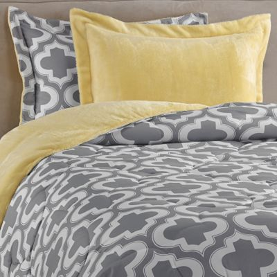 Charlie Printed 2-Piece Twin/Twin XL Reversible Down Alternative Comforter Set in Yellow/Grey