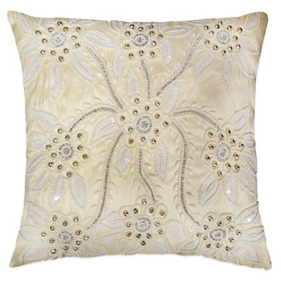 Beaded Bouquet Square Throw Pillow in Ivory