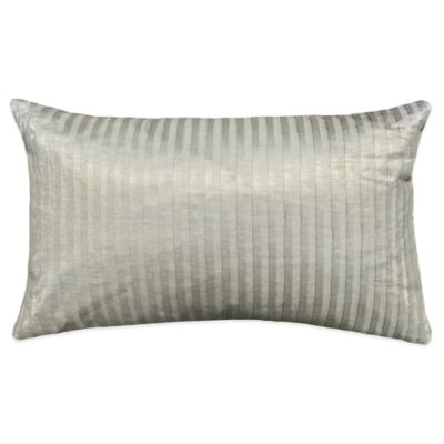 Metallic Pleat Oblong Throw Pillow in Silver