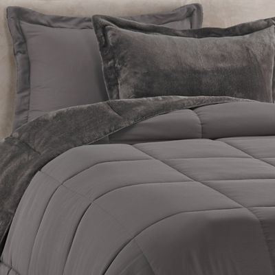 Solid Reversible 2-Piece Twin/Twin XL Plush Comforter Set in Grey