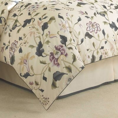 Charisma Eve King Bed Skirt in Ink Blue/Cream