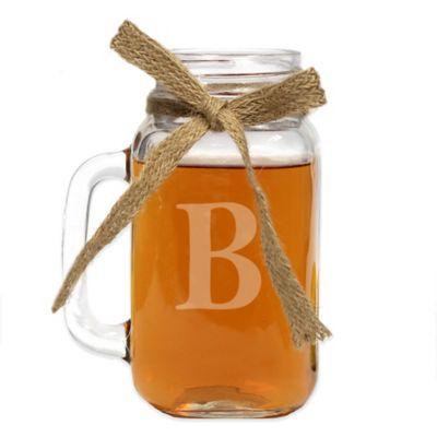 "Yorkshire Monogrammed Block Letter ""B"" 24 oz. Glass Mason Jar Mug"