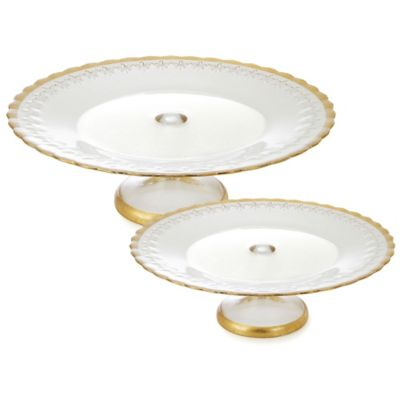 Classic Touch Trophy Small Floral Cake Stand in Gold