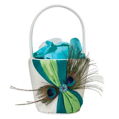 Lillian Rose™ Peacock Feather Flower Basket