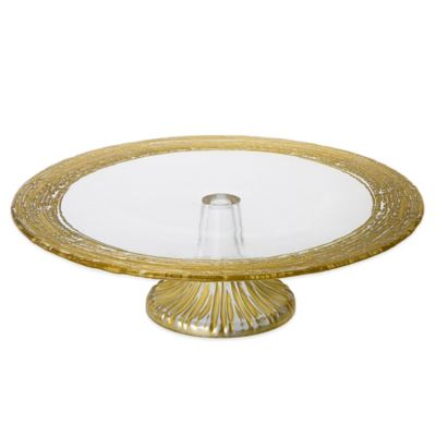 Classic Touch Trophy 13-Inch Glass Cake Stand in Gold
