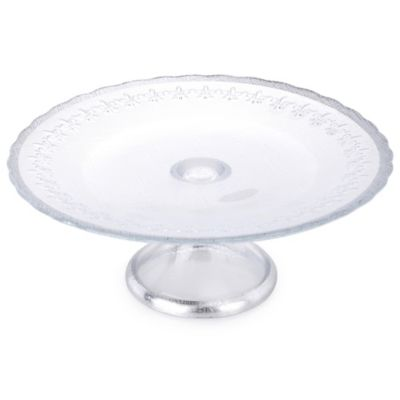 Classic Touch Trophy 8-Inch Floral Cake Stand in Silver