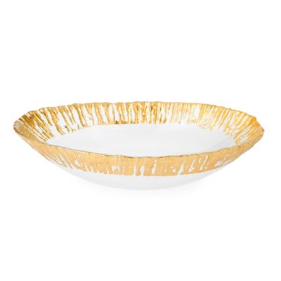 Classic Touch Trophy Scalloped Oval Glass Bowl