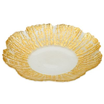Classic Touch Trophy Scalloped Glass Platter in Gold