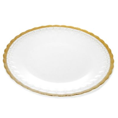Classic Touch Trophy Floral Plates in Gold (Set of 4)