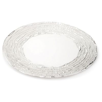 Classic Touch Trophy Glass Plates in White/Silver (Set of 4)