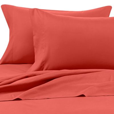 Benzoyl Peroxide-Resistant Microfiber Twin Sheet Set in Coral