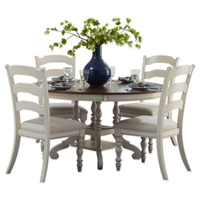 Hillsdale Pine Island 7-Piece Oval Dining Set with Ladder Back Chairs in Old White
