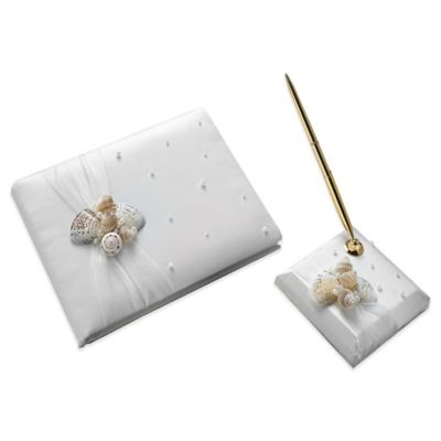 Lillian Rose™ Seashell Guest Book and Pen Set