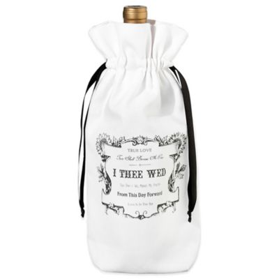 "Lillian Rose ""True Love"" Wine Bag in Black/White"