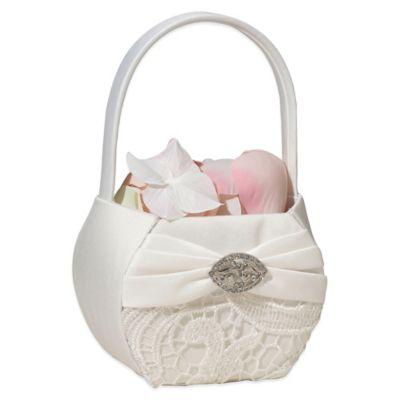 Lillian Rose™ Vintage Lace Flower Basket in Cream
