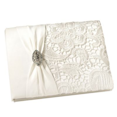 Lillian Rose™ Vintage Lace Guest Book in Cream