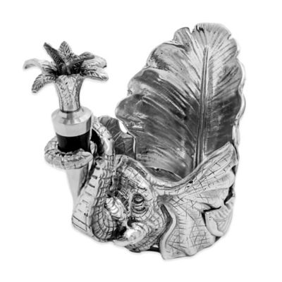 Arthur Court Designs© 2-Piece Elephant Wine Stopper and Caddy Set