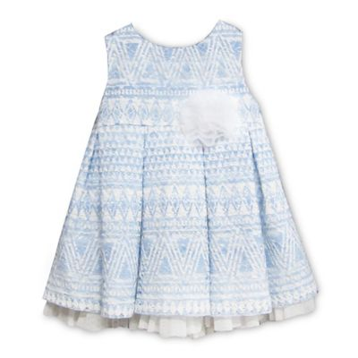 Pippa & Julie™ Size 24M Sleeveless Patterned Dress with Pleated Skirt in Blue and White