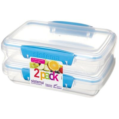 Sistema® KLIP IT® 12.8 oz. Rectangular Accents Food Container in Blue (Set of 2)