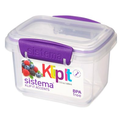 Sistema® KLIP IT® Accents 13 Oz. Food Storage Container in Purple